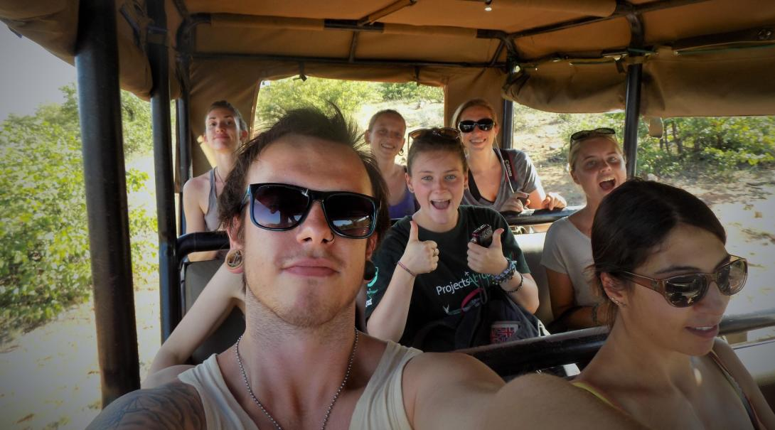 Projects Abroad teenage volunteers go on a safari during their Wildlife volunteering in Botswana.